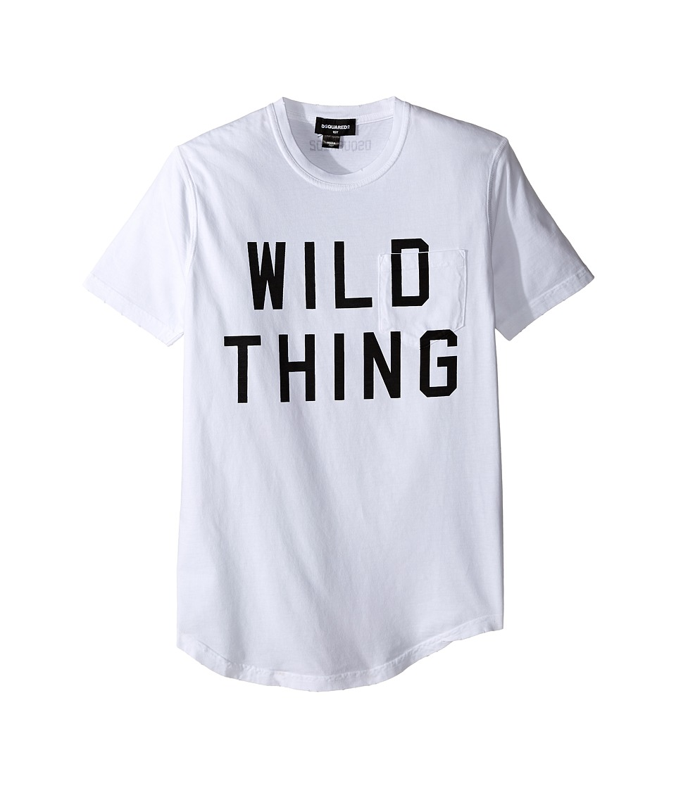 Dsquared2 Kids - Short Sleeve 'Wild Thing' Pocket Tee (Big Kids) (White) Boy's T Shirt