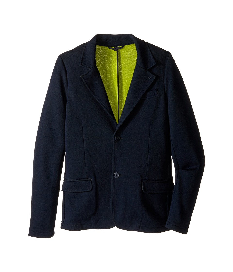Armani Junior - Blazer with Lime Detail (Toddler/Little Kids/Big Kids) (Navy) Boy's Jacket