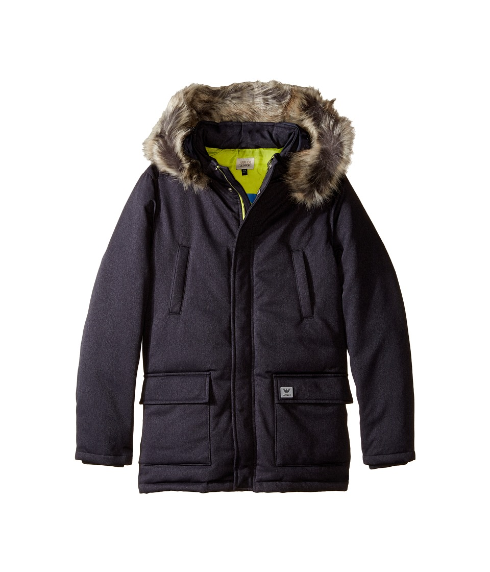 Armani Junior - Down Jacket with Faux Fur Trim (Toddler/Little Kids/Big Kids) (Navy) Boy's Coat