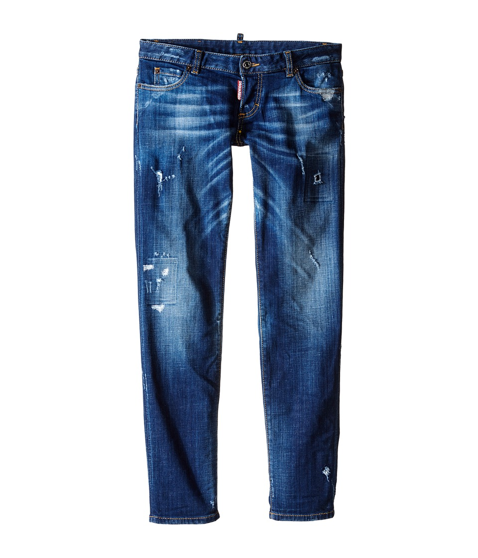 Dsquared2 Kids - Distressed Skinny Jeans (Big Kids) (Blue Denim) Boy's Jeans