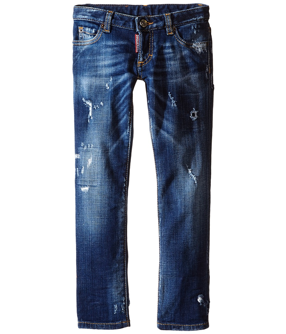 Dsquared2 Kids - Distressed Skinny Jeans (Little Kids/Big Kids) (Blue Denim) Boy's Jeans