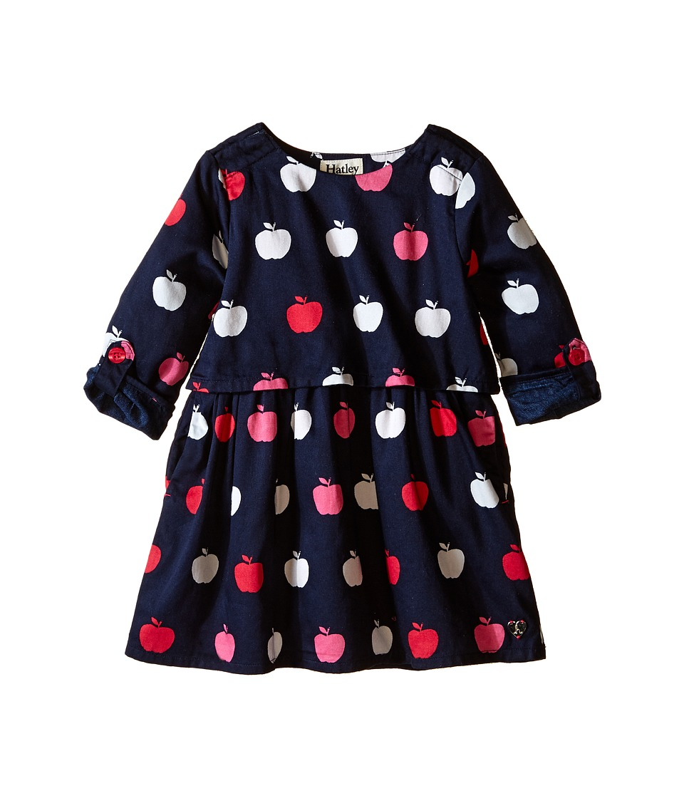 Hatley Kids - Nordic Apples Cotton Satteen 2 Layer Dress (Toddler/Little Kids/Big Kids) (Blue) Girl's Dress