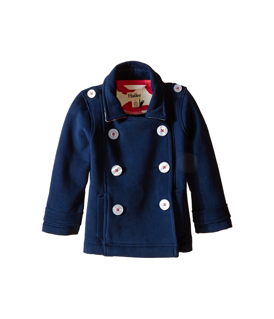 Hatley Kids - Nordic Apple Brushed Fleece Peacoat (Toddler/Little Kids/Big Kids) (Blue) Girl's Coat