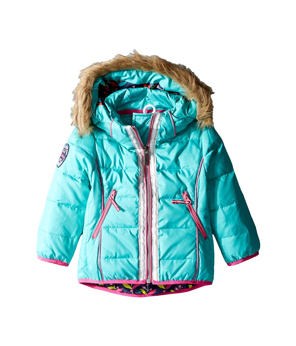 Hatley Kids - Nordic Petals Down Filled Ski Jacket (Toddler/Little Kids/Big Kids) (Aqua) Girl's Coat