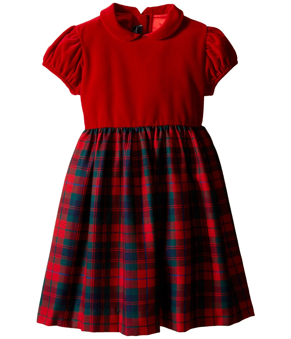 Oscar de la Renta Childrenswear - Holiday Plaid Wool Gathered Dress (Toddler/Little Kids/Big Kids) (Ruby Multi) Girl's Dress