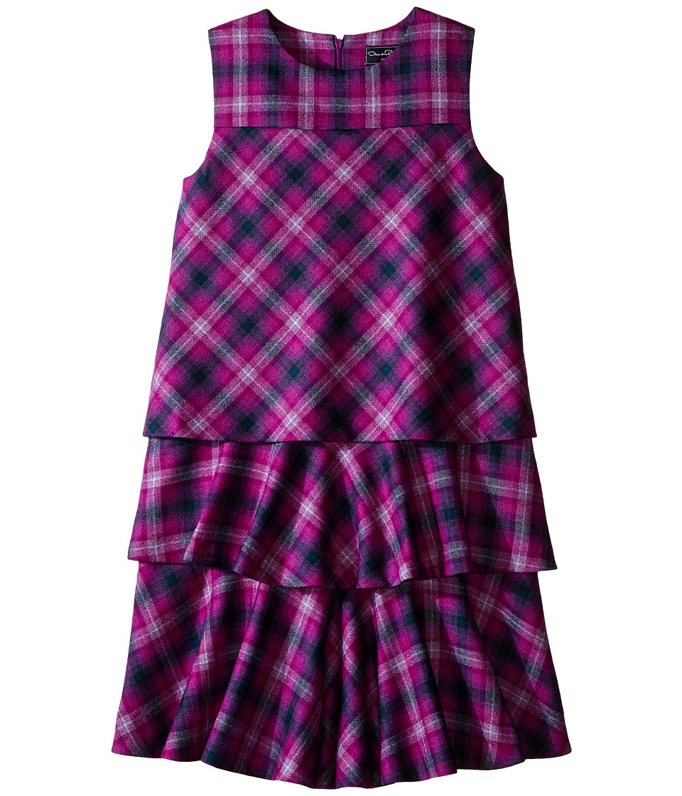 Oscar de la Renta Childrenswear - Plaid Wool A-Line Layered Dress (Toddler/Little Kids/Big Kids) (Ultraviolet) Girl's Dress