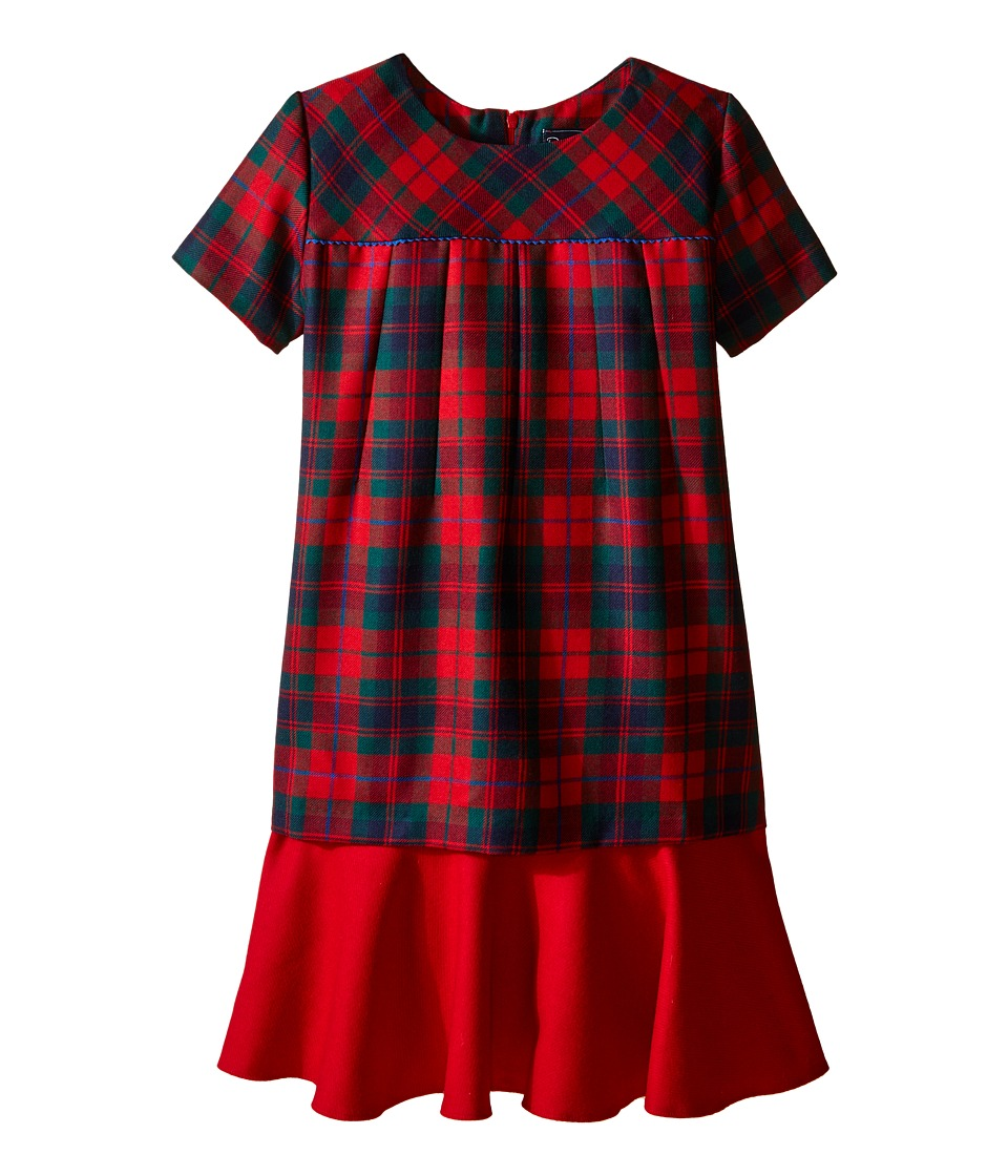 Oscar de la Renta Childrenswear - Holiday Plaid Wool Multi Layer Dress (Toddler/Little Kids/Big Kids) (Ruby Multi) Girl's Dress