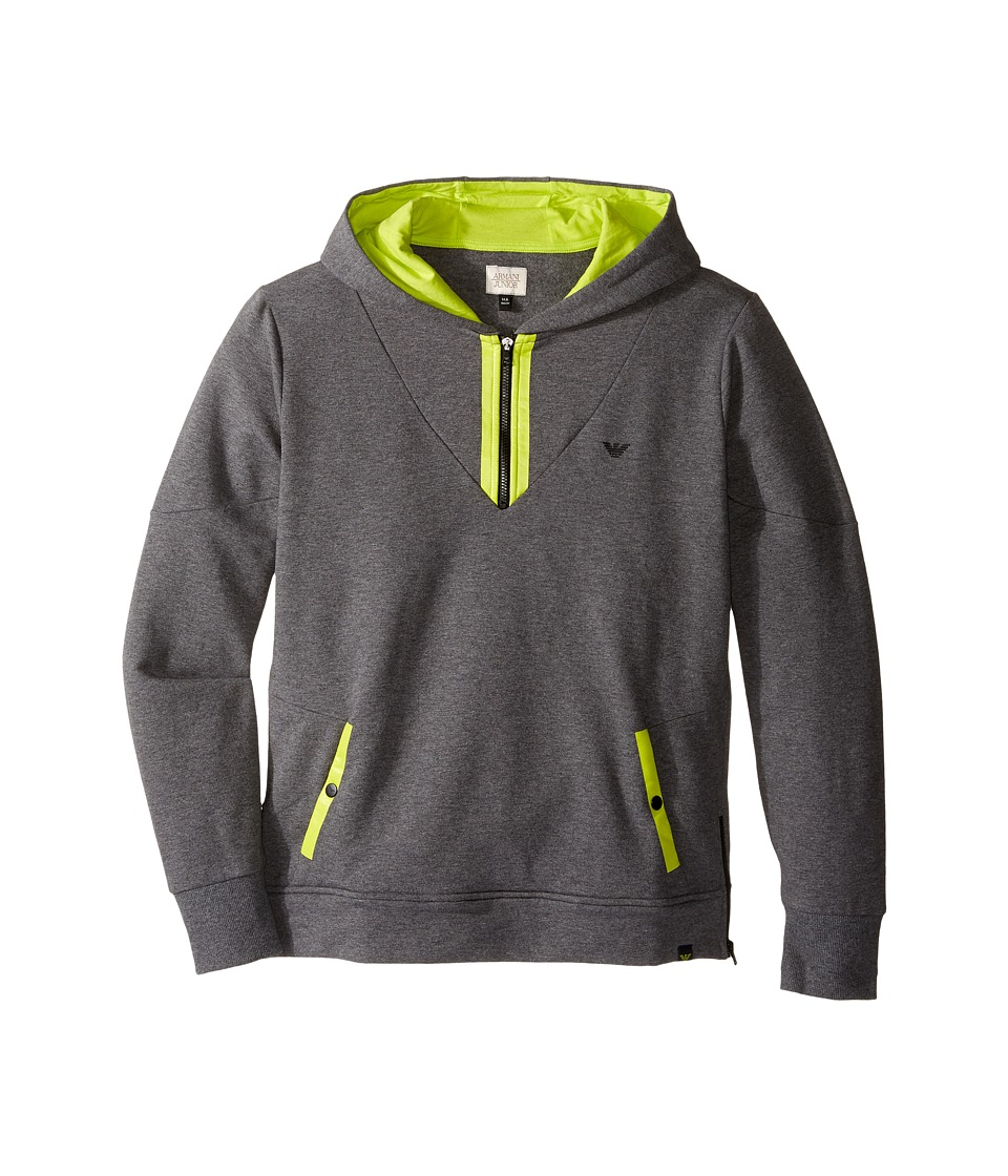 Armani Junior - Hoodie with Lime Detail (Toddler/Little Kids/Big Kids) (Grey) Boy's Sweatshirt