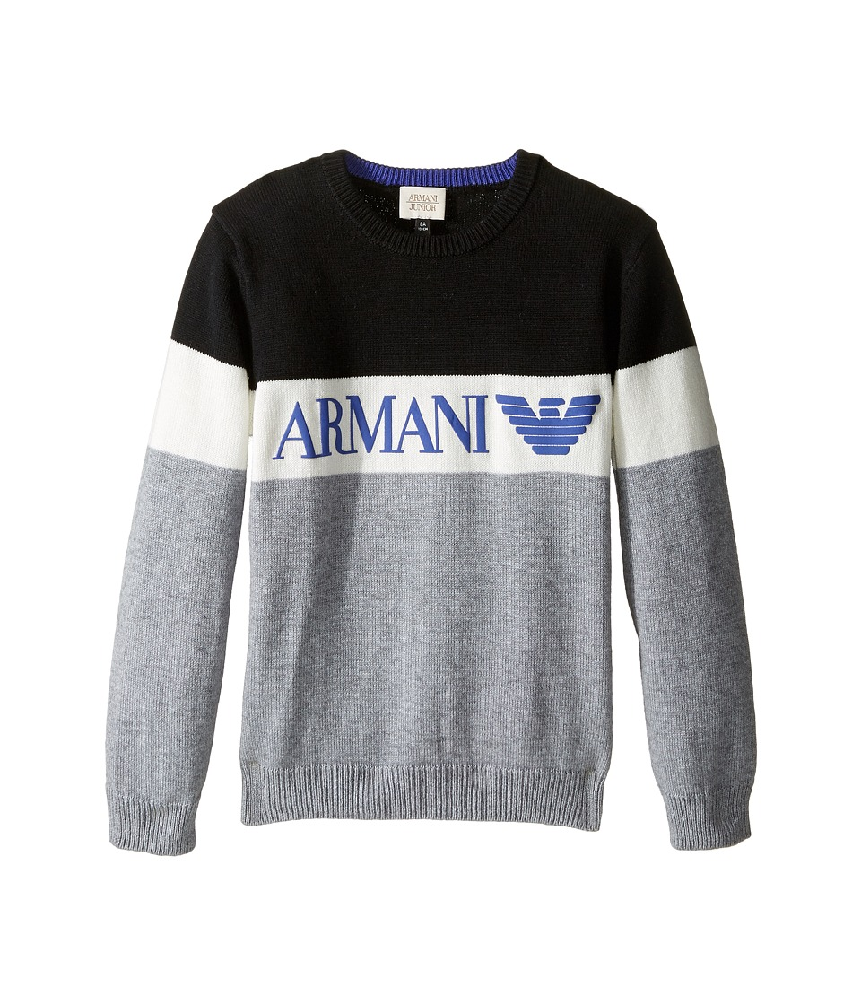 Armani Junior - Armani Logo Sweater (Toddler/Little Kids/Big Kids) (Grey) Boy's Sweater
