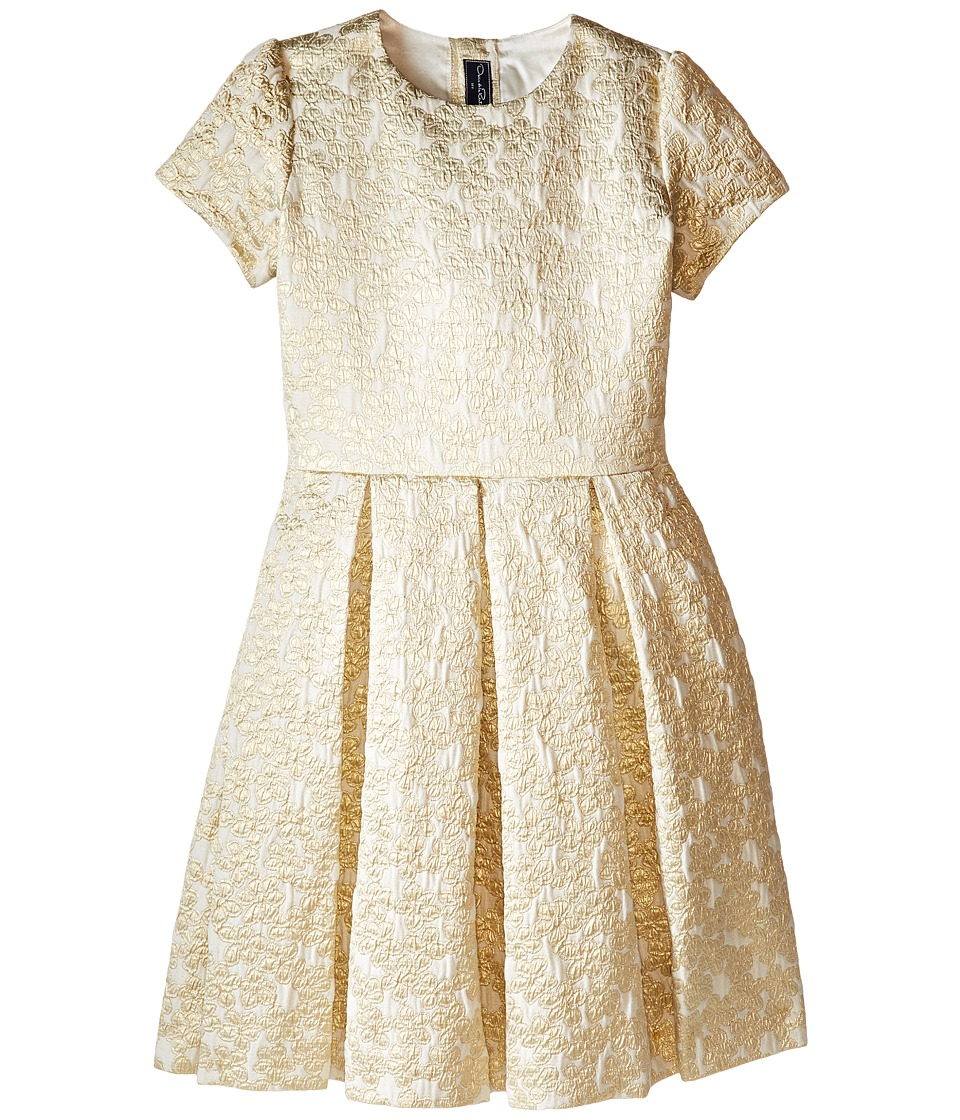 Oscar de la Renta Childrenswear - Jacquard Party Dress (Toddler/Little Kids/Big Kids) (Gold) Girl's Dress