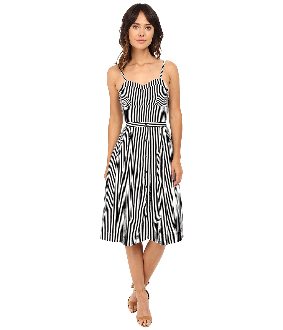 Rachel Antonoff - Lindsay Tie Back Midi Dress (Black/White Stripe) Women's Dress