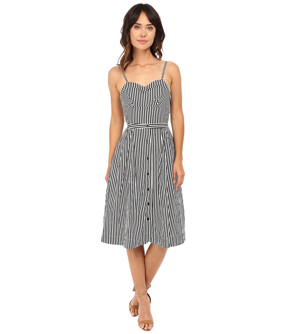 Rachel Antonoff Lindsay Tie Back Midi Dress (Black/White Stripe) Women