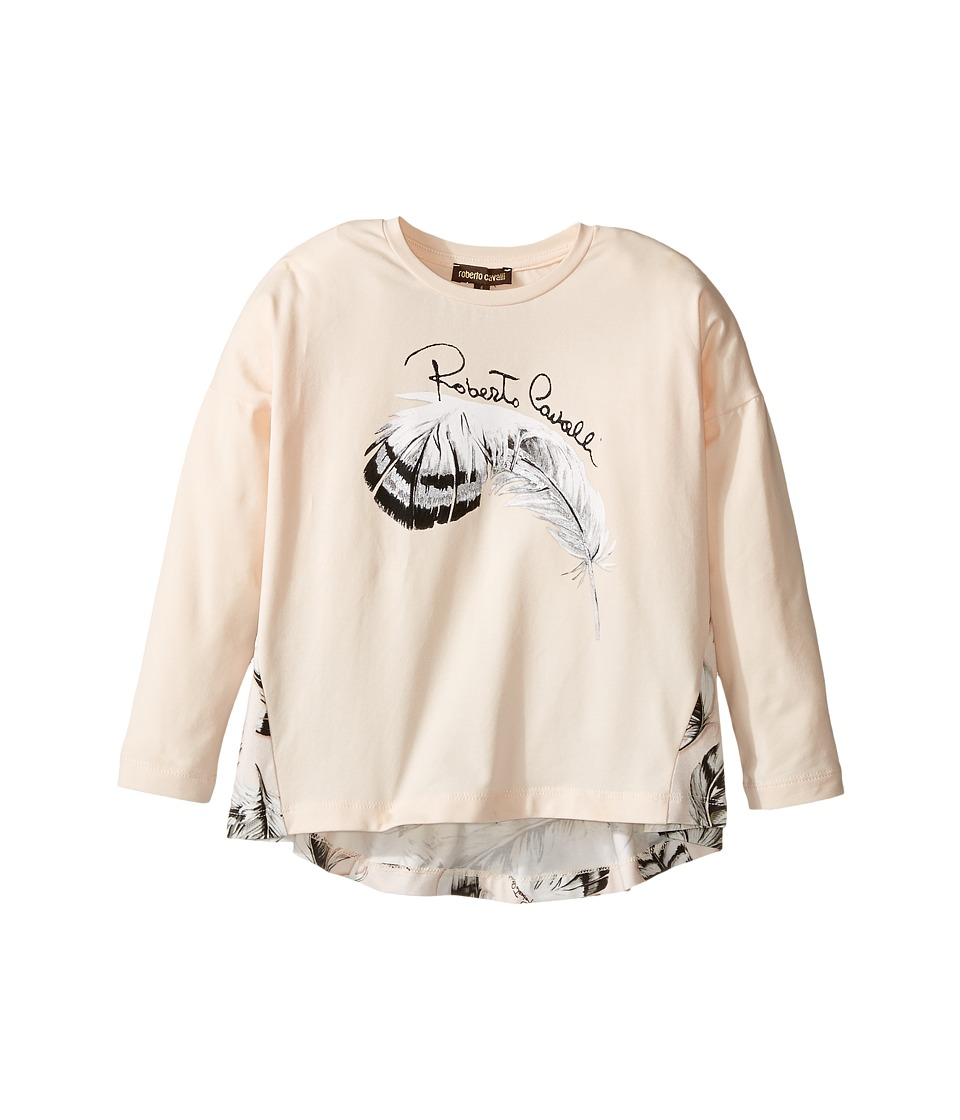 Roberto Cavalli Kids - Long Sleeve Graphic Shirt w/ Feather Print on Back (Toddler/Little Kids) (Light Pink) Girl's Clothing