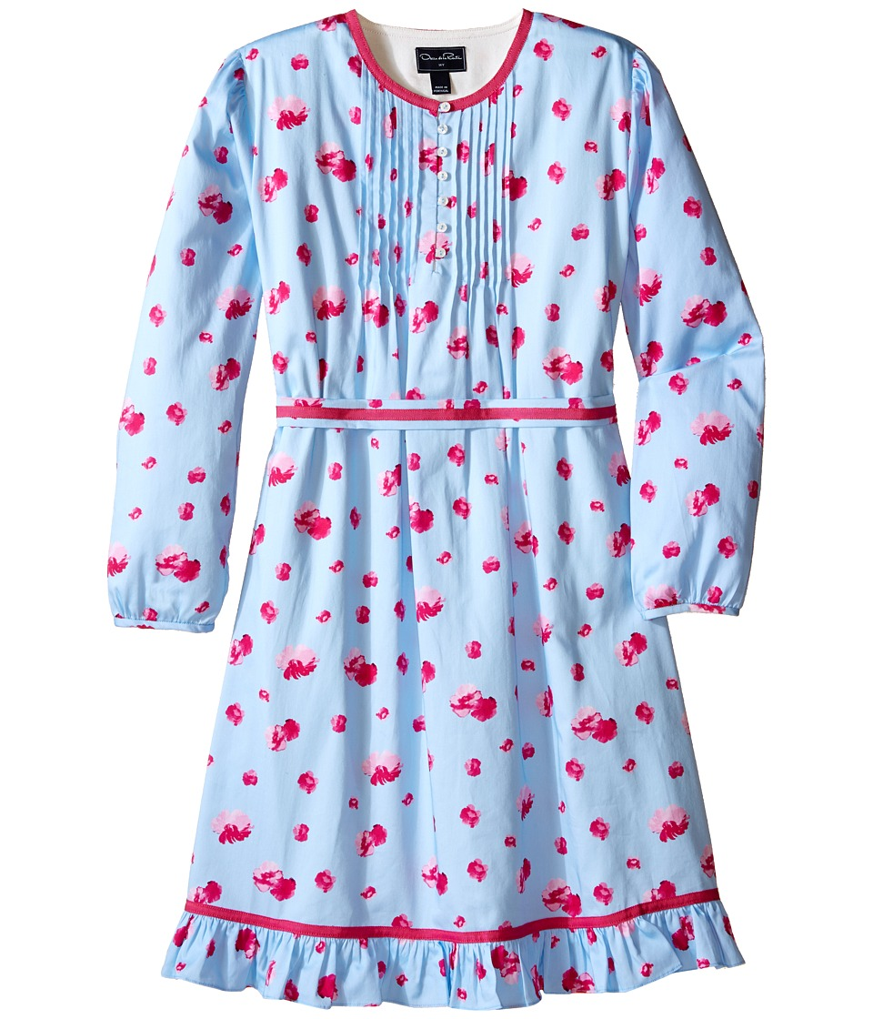 Oscar de la Renta Childrenswear - Watercolor Fleur Cotton Tunic Dress (Toddler/Little Kids/Big Kids) (Ice/Fuchsia) Girl's Dress