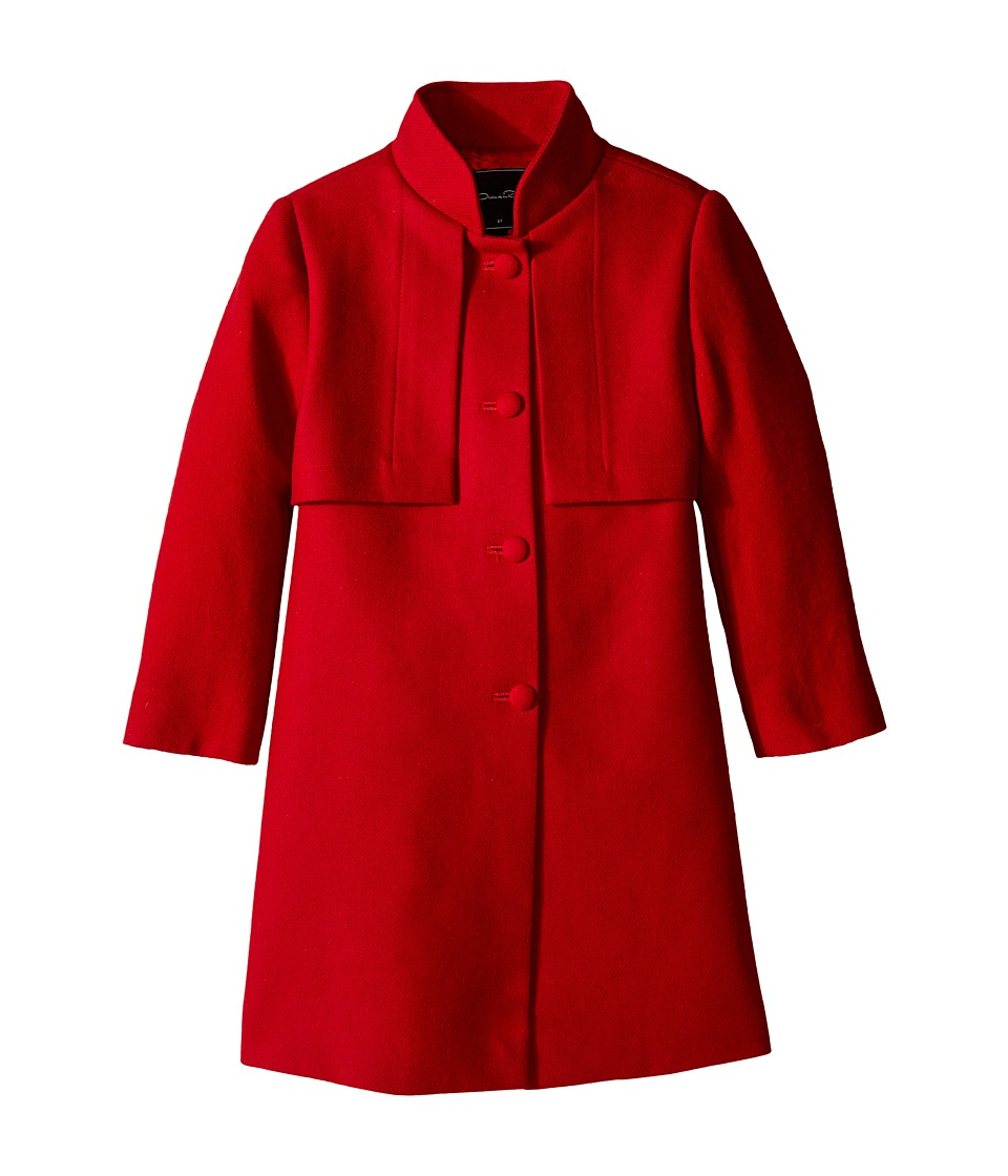Oscar de la Renta Childrenswear - Wool Flap Collar Coat (Toddler/Little Kids/Big Kids) (Ruby) Girl's Coat