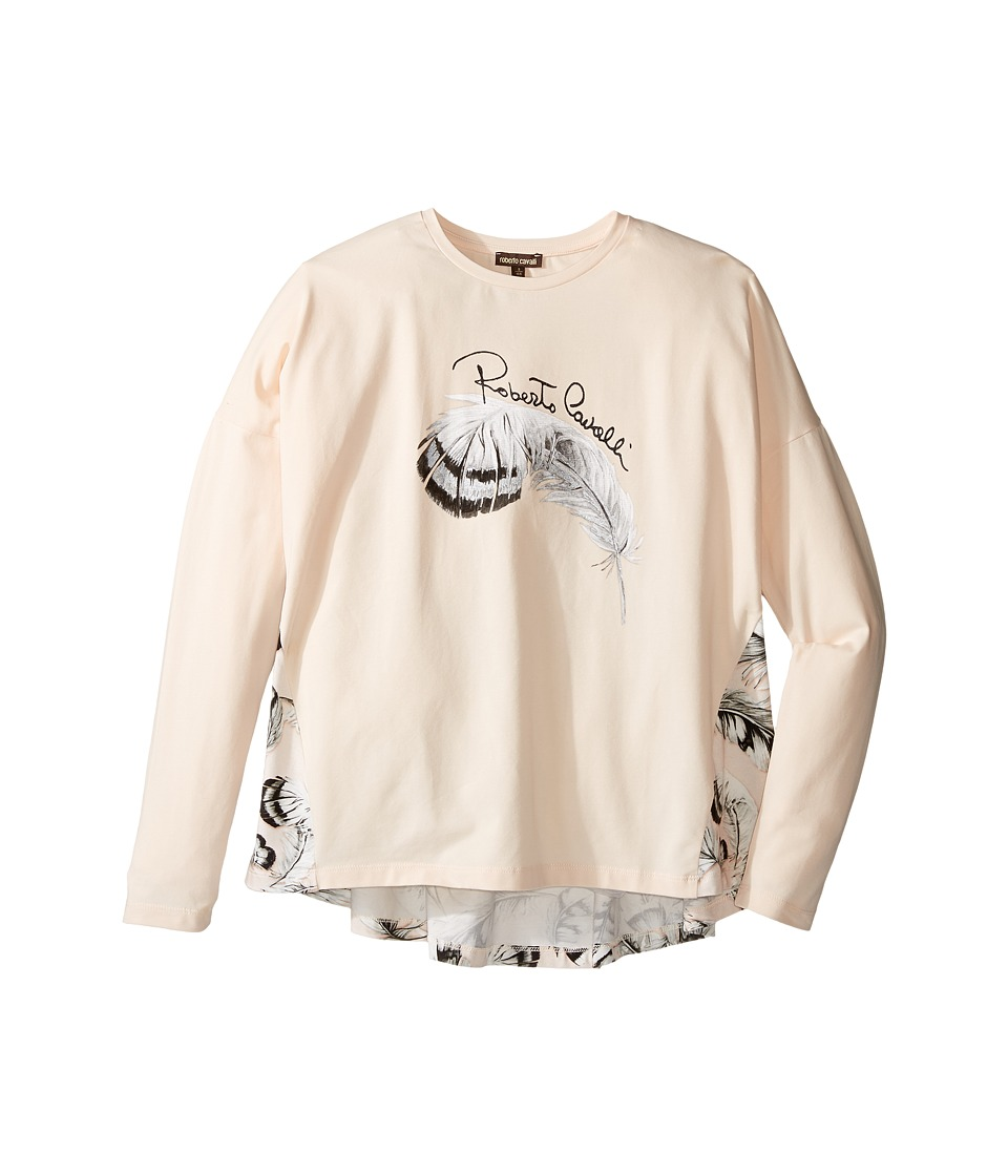 Roberto Cavalli Kids - Long Sleeve Graphic Shirt w/ Feather Print on Back (Big Kids) (Light Pink) Girl's Clothing