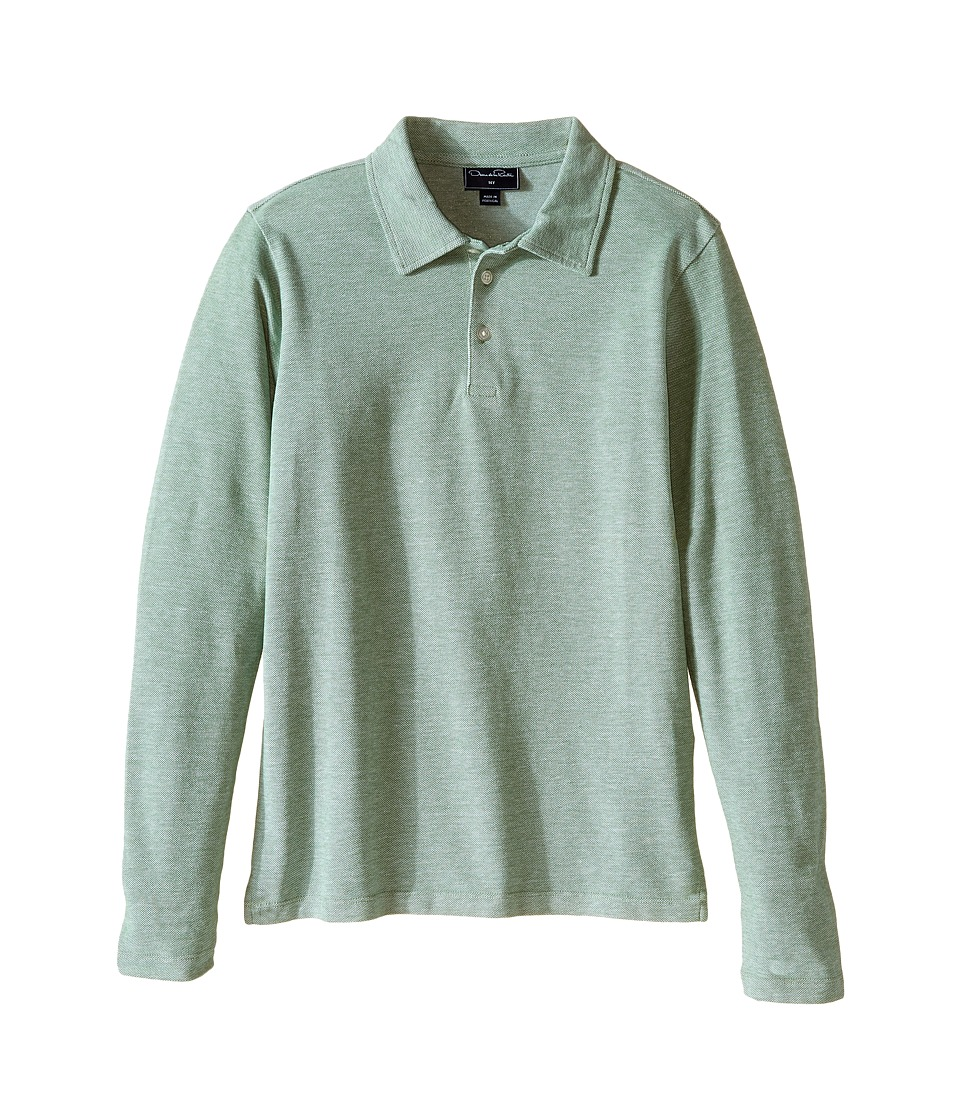 Oscar de la Renta Childrenswear - Heathered Long Sleeve Polo (Toddler/Little Kids/Big Kids) (Pine) Boy's Long Sleeve Pullover