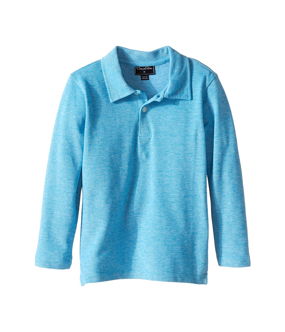 Oscar de la Renta Childrenswear - Heathered Long Sleeve Polo (Toddler/Little Kids/Big Kids) (Ultramarine) Boy's Long Sleeve Pullover