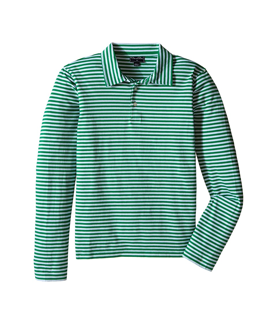 Oscar de la Renta Childrenswear - Stripe Long Sleeve Polo (Toddler/Little Kids/Big Kids) (Forest/Ice) Boy's Long Sleeve Pullover