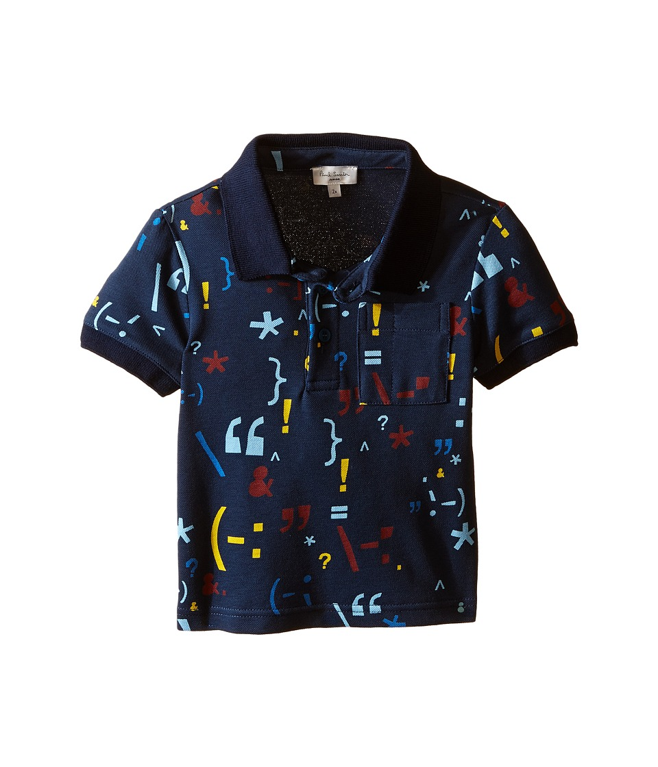 Paul Smith Junior - Printed Short Sleeves Polo (Toddler/Little Kids) (Navy) Boy's Short Sleeve Pullover
