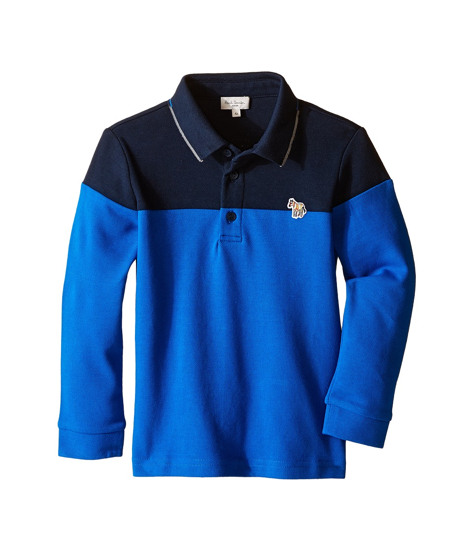 Paul Smith Junior - Bi-Color Long Sleeves Polo (Toddler/Little Kids) (Navy) Boy's Long Sleeve Pullover