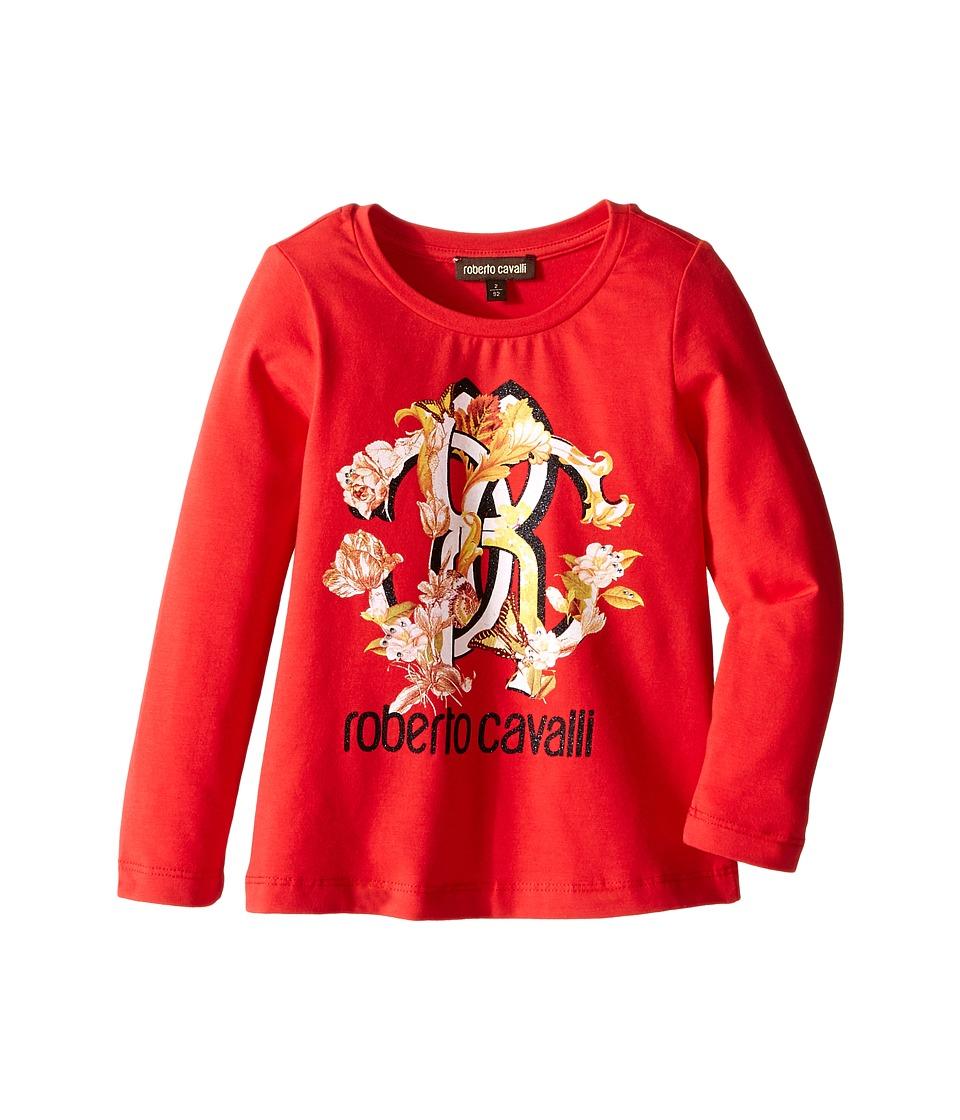Roberto Cavalli Kids - Long Sleeve T-Shirt w/ Logo Floral Graphic (Toddler/Little Kids) (Red) Girl's T Shirt
