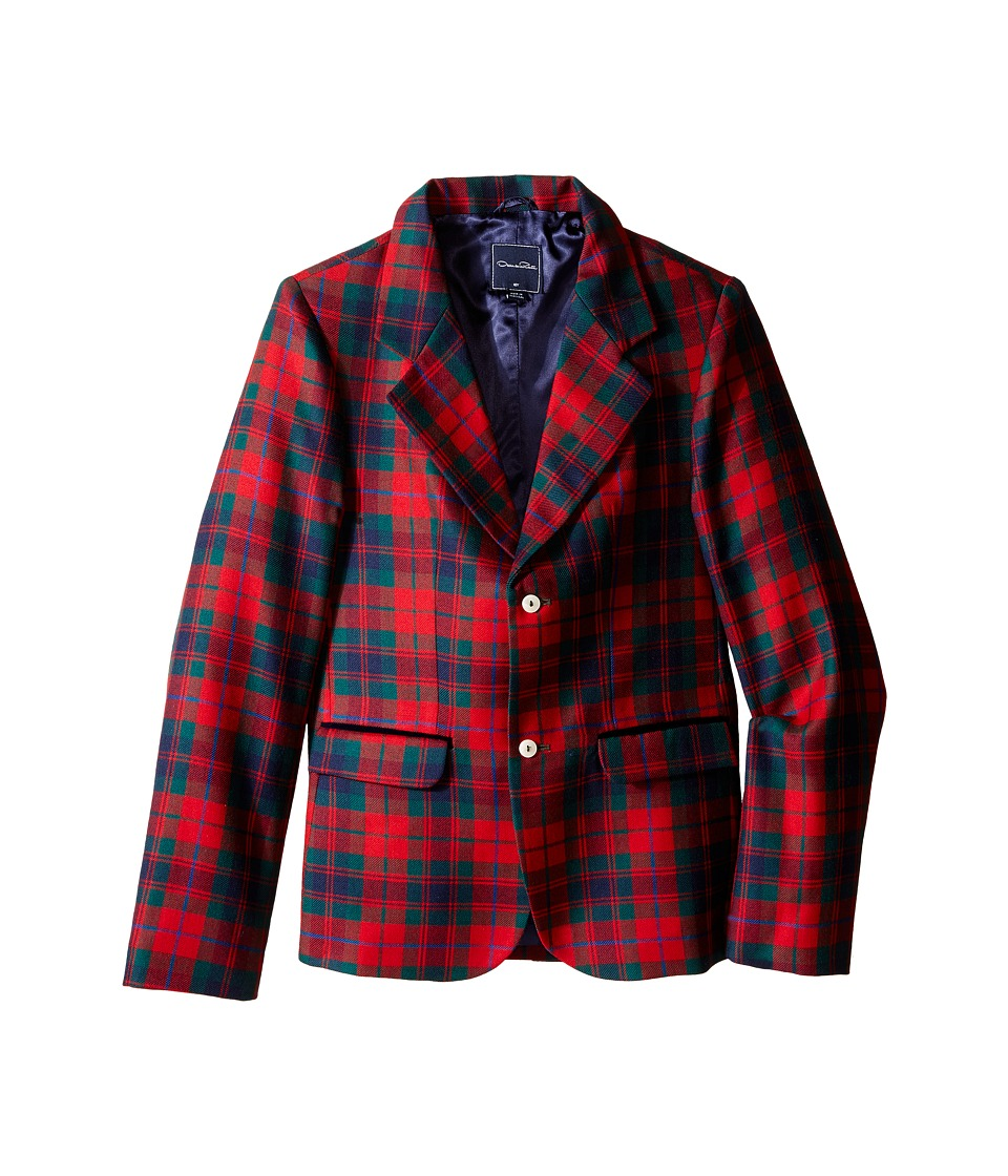 Oscar de la Renta Childrenswear - Holiday Plaid Wool Blazer (Toddler/Little Kids/Big Kids) (Ruby Multi) Boy's Jacket