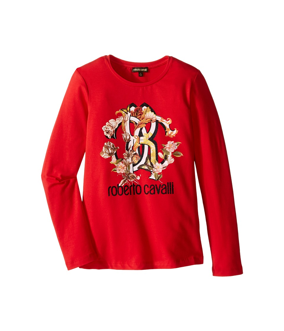 Roberto Cavalli Kids - Long Sleeve T-Shirt w/ Logo Floral Graphic (Big Kids) (Red) Girl's T Shirt