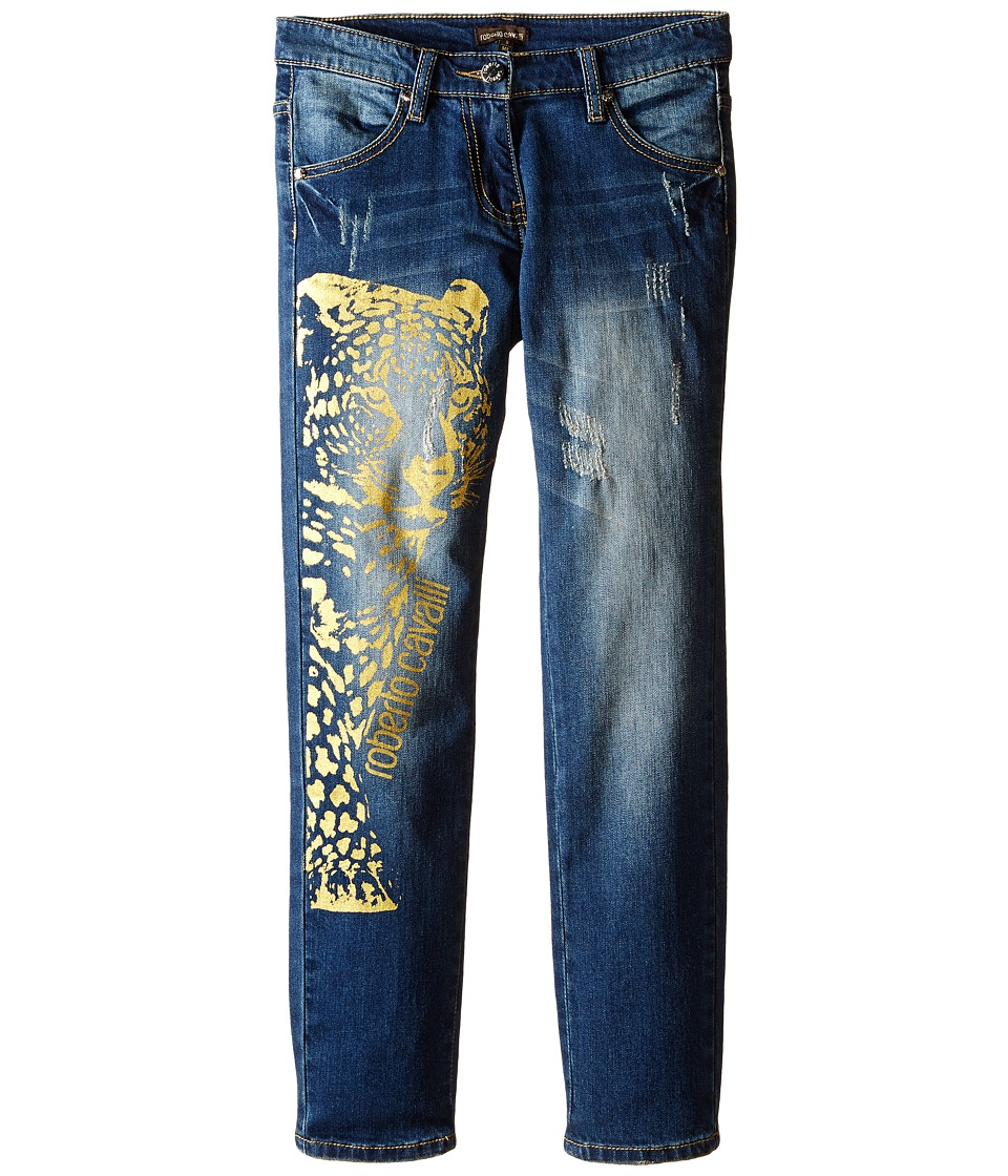 Roberto Cavalli Kids - Denim Pants w/ Leopard Design (Big Kids) (Blue Denim) Girl's Jeans