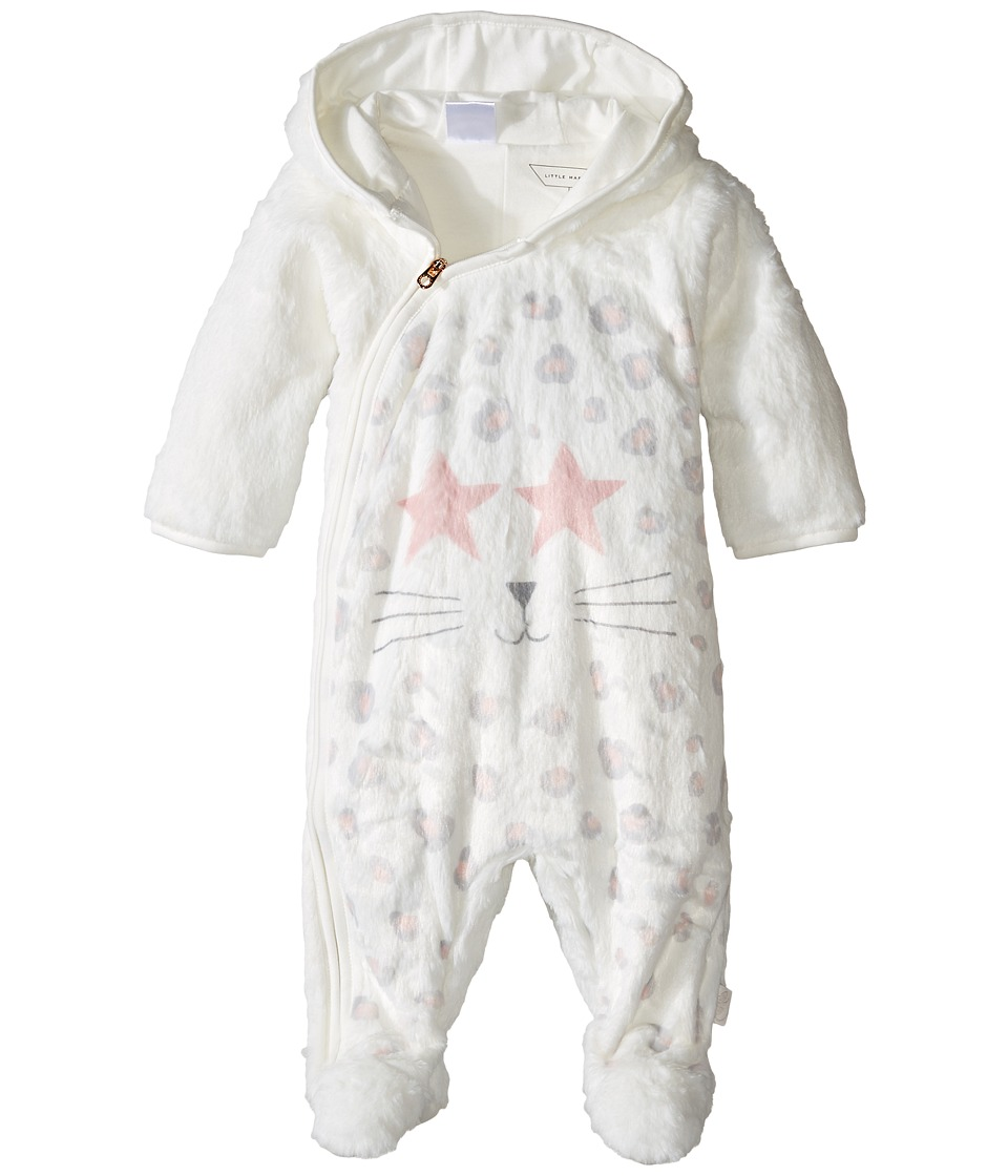 Little Marc Jacobs - Faux Fur Cool Mouse Print Footee (Infant) (Ecru/Rose) Girl's Jumpsuit & Rompers One Piece