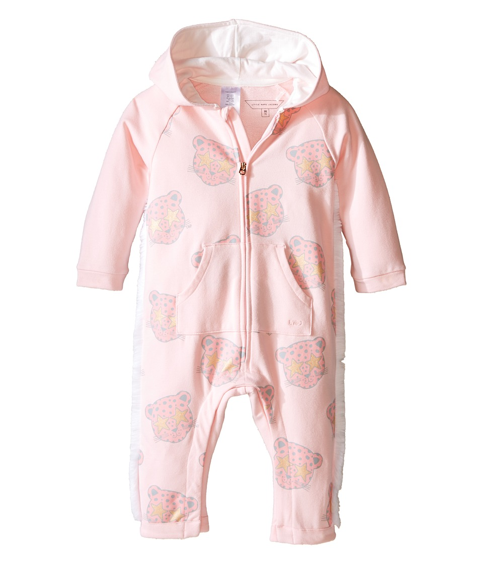 Little Marc Jacobs - All Over Printed and Hooded Bodysuit (Infant) (Bois Rose) Girl's Jumpsuit & Rompers One Piece