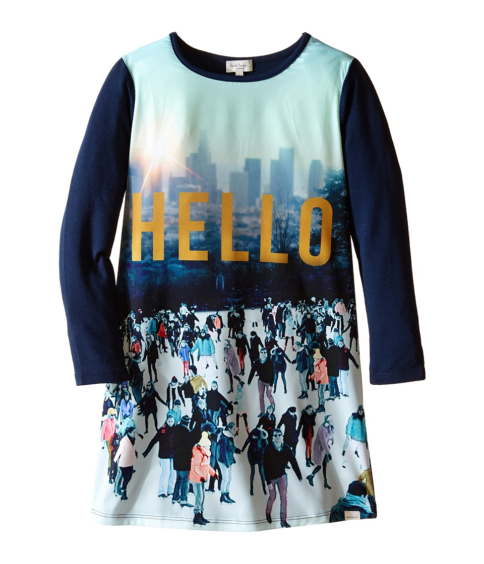 Paul Smith Junior - Printed Hello Tee Shirtdress (Toddler/Little Kids) (Sea Blue) Girl's Dress