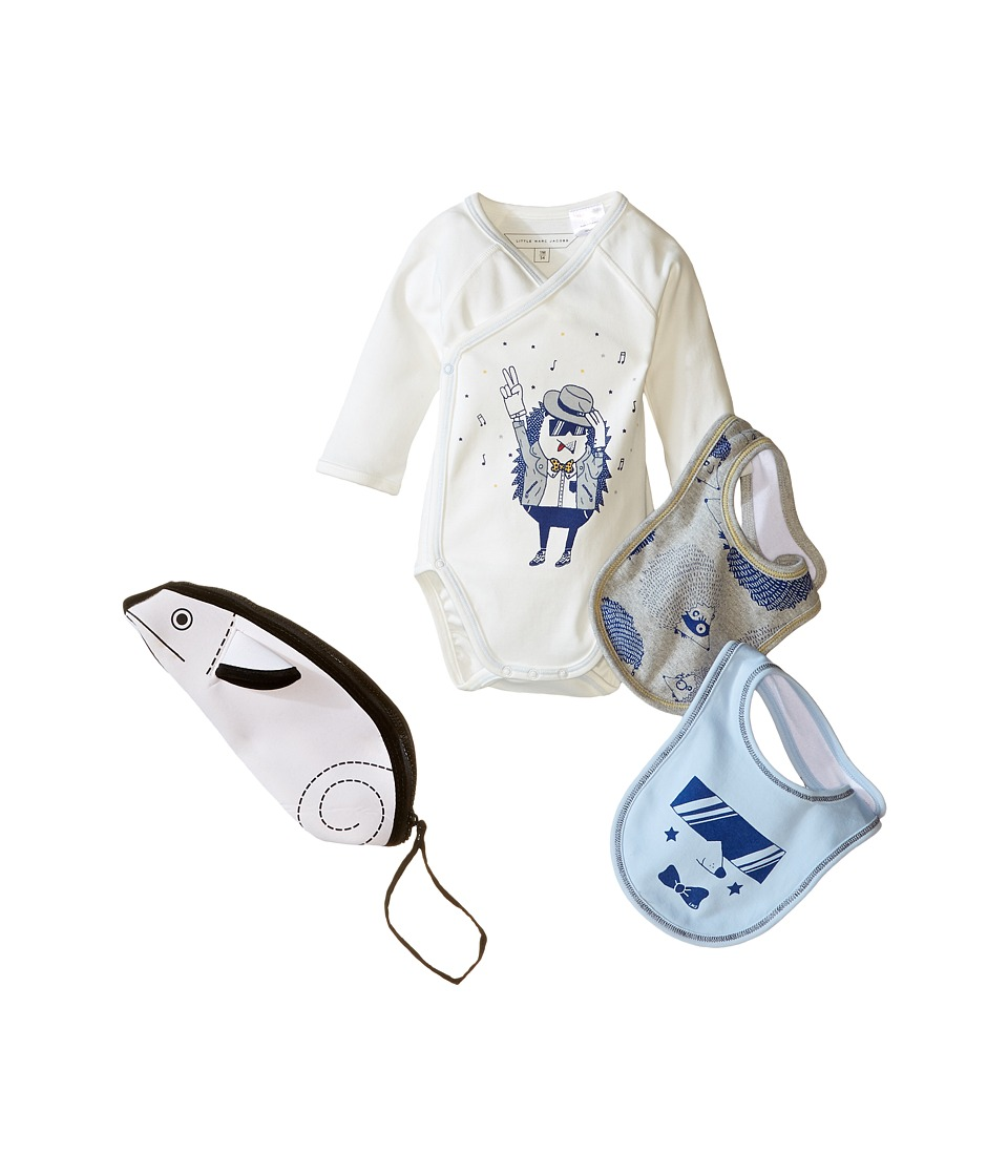 Little Marc Jacobs - Set of Bodysuit and 2 Bibs Sold with Mouse Pouch (Infant) (Off-White) Girl's Active Sets