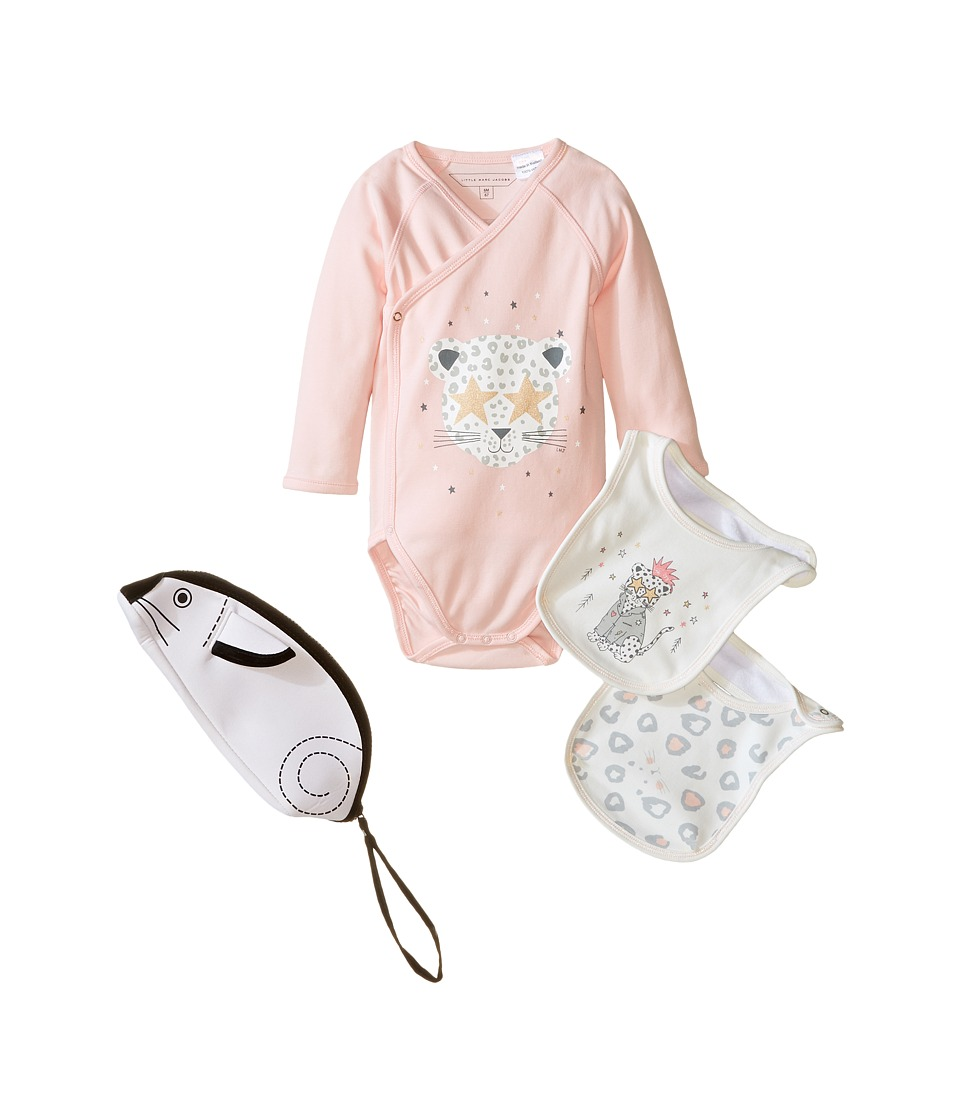 Little Marc Jacobs - Set of Bodysuit and 2 Bibs Sold with Mouse Pouch (Infant) (Bois Rose) Girl's Active Sets