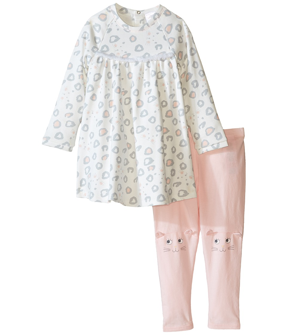 Little Marc Jacobs - All Over Printed Dress with Cute Leggings Set (Infant) (Off-White) Girl's Active Sets