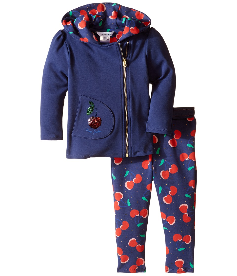 Little Marc Jacobs - Stylish Cherry Print Joggings Set (Infant) (Eclipse) Girl's Active Sets