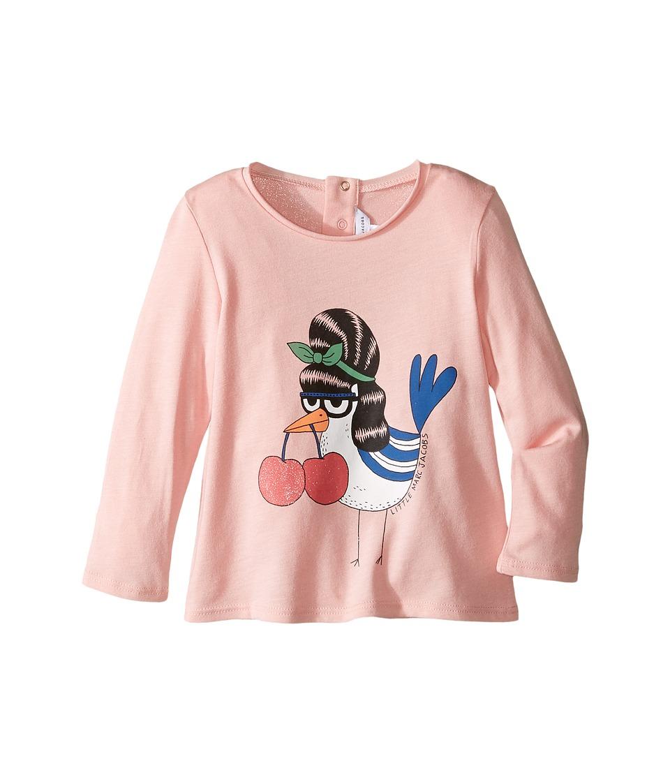 Little Marc Jacobs - Fancy Cherry Modal Long Sleeve Tee Shirt (Infant) (Rose Givre) Girl's T Shirt