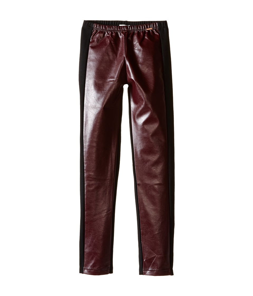 Junior Gaultier - Black Faux Leather Leggings (Big Kids) (Prune) Girl's Casual Pants