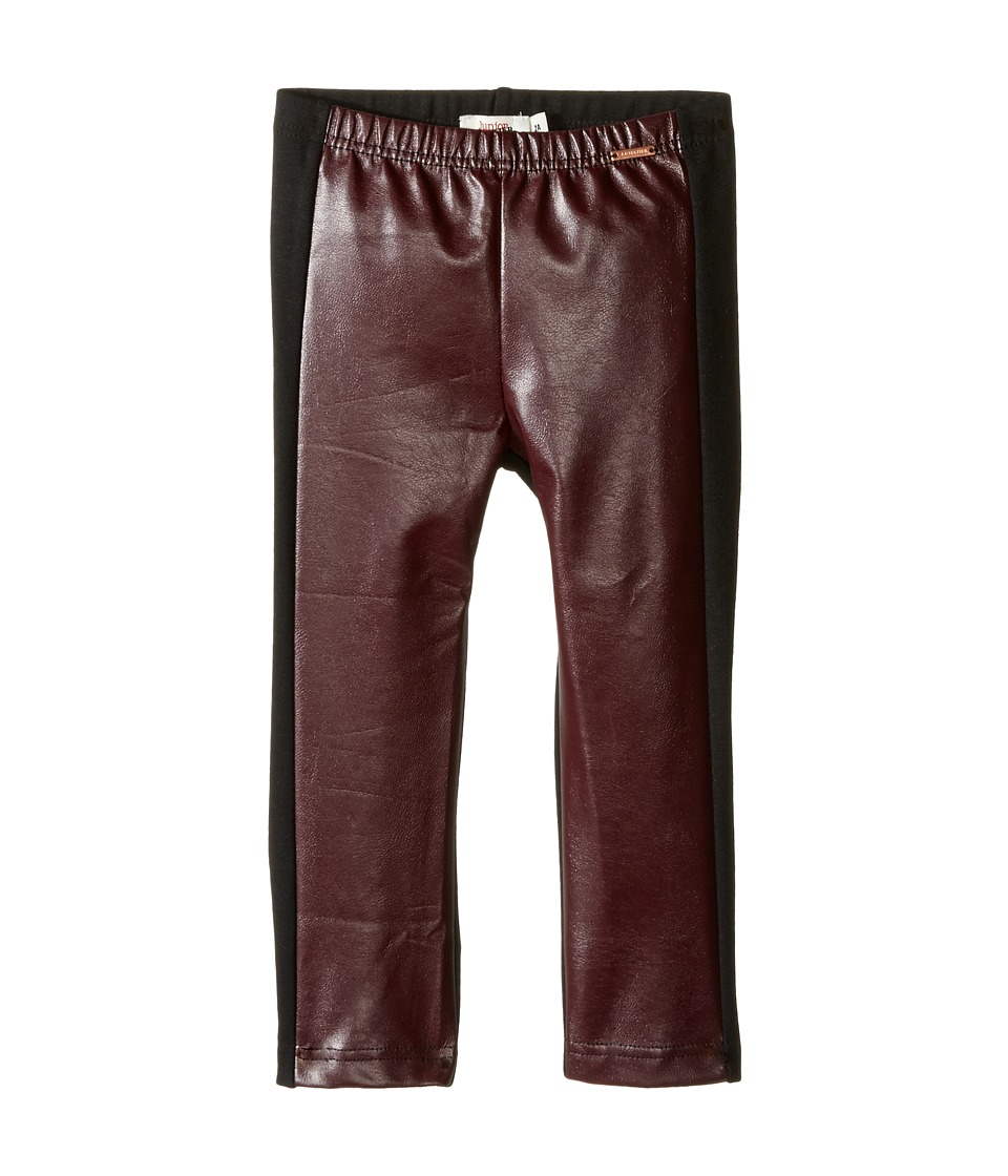 Junior Gaultier - Black Faux Leather Leggings (Toddler/Little Kids) (Prune) Girl's Casual Pants