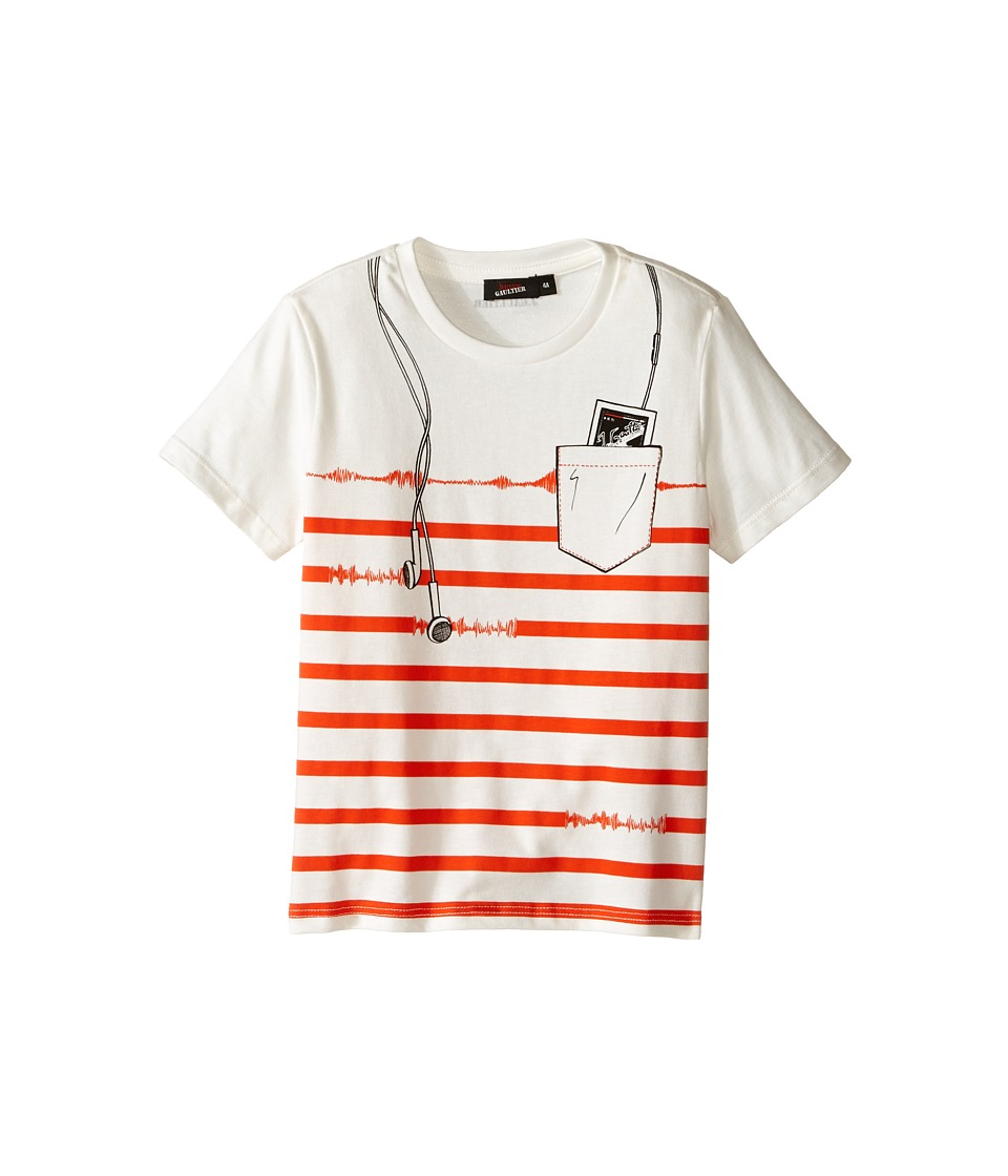 Junior Gaultier - Striped Short Sleeve Tee Shirt with ipod Print (Toddler/Little Kids) (Cream) Boy's T Shirt
