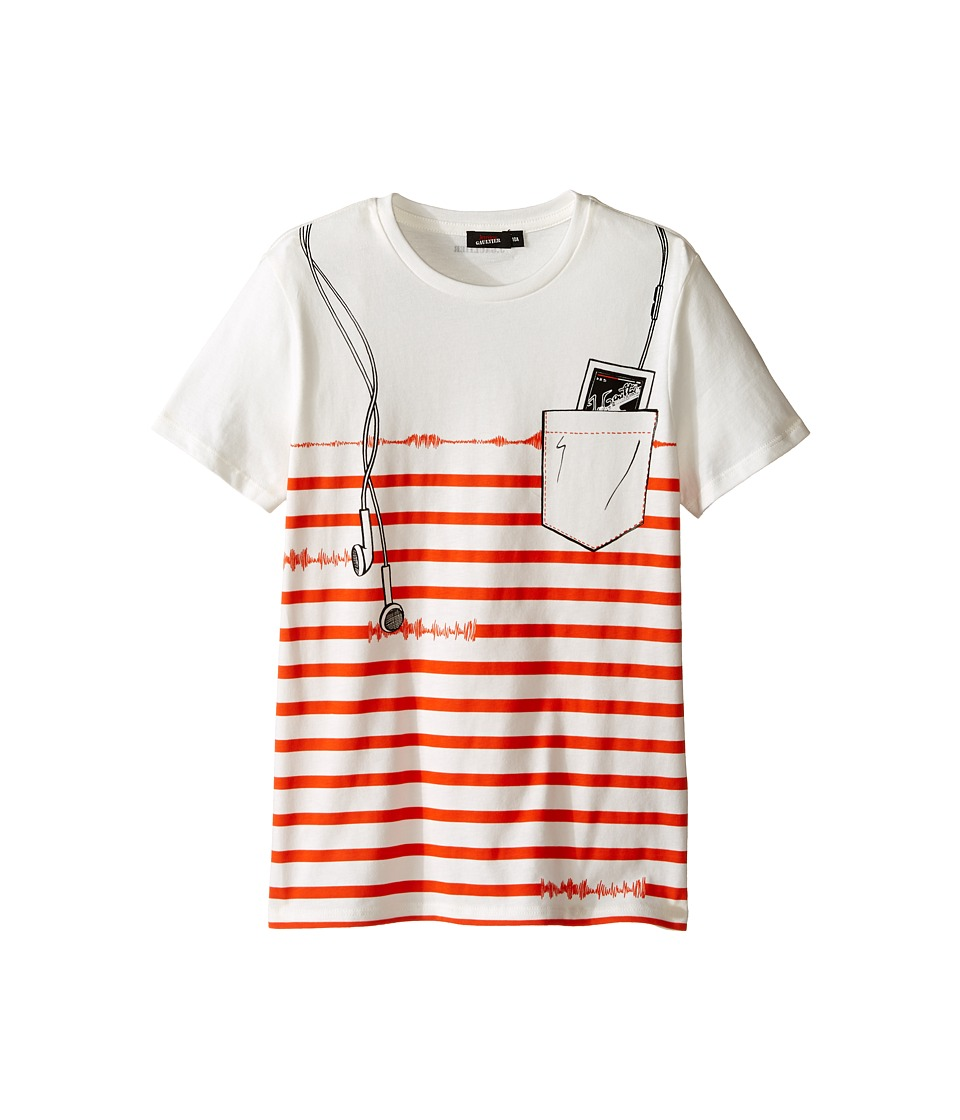 Junior Gaultier - Striped Short Sleeve Tee Shirt with ipod Print (Big Kids) (Cream) Boy's T Shirt