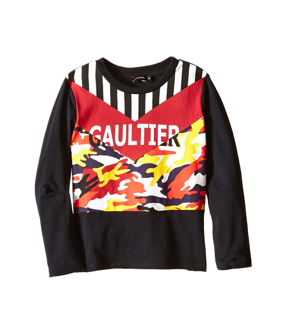 Junior Gaultier - Gaultier Tee Shirt with Orange/Yellow Camouflage (Toddler/Little Kids) (Black) Boy's T Shirt