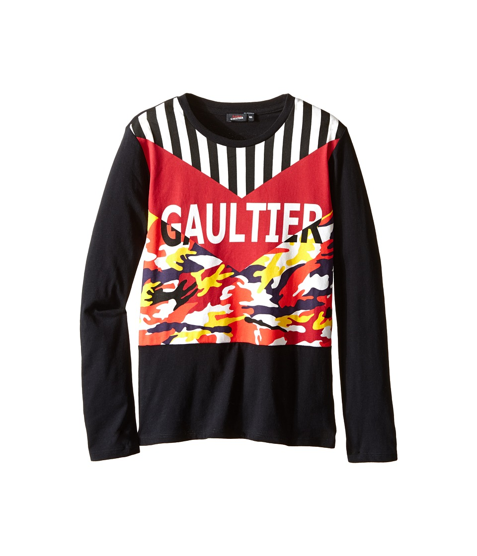 Junior Gaultier - Gaultier Tee Shirt with Orange/Yellow Camouflage (Big Kids) (Black) Boy's T Shirt