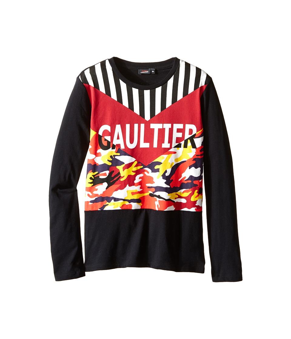 Junior Gaultier - Gaultier Tee Shirt with Orange/Yellow Camouflage (Big Kids) (Black) Boy's T Shirt
