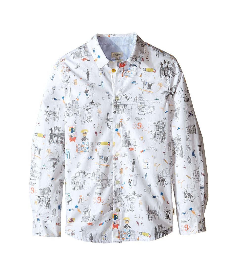 Paul Smith Junior - Printed Shirt with Street Signs (Big Kids) (White) Boy's Clothing