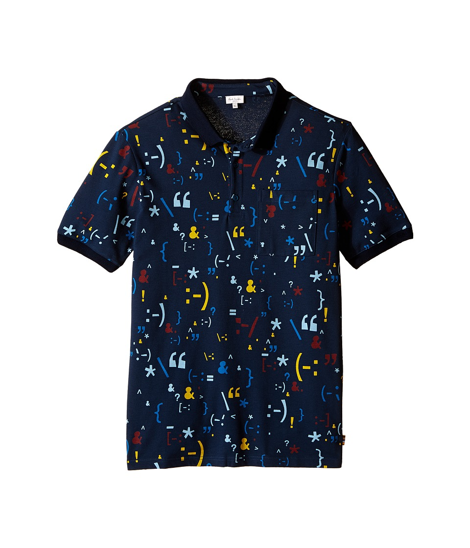 Paul Smith Junior - Printed Short Sleeves Polo (Big Kids) (Navy) Boy's Short Sleeve Pullover