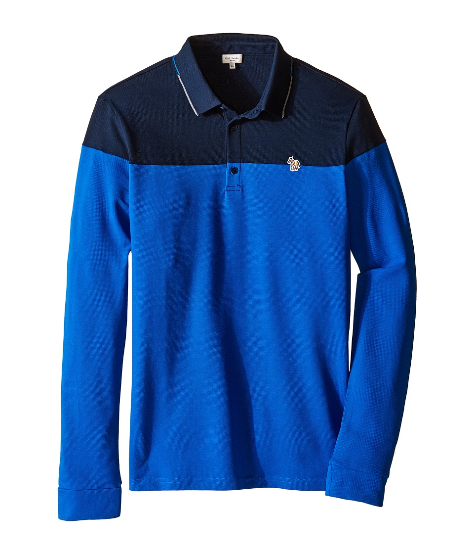 Paul Smith Junior - Bi-Color Long Sleeves Polo (Big Kids) (Navy) Boy's Long Sleeve Pullover