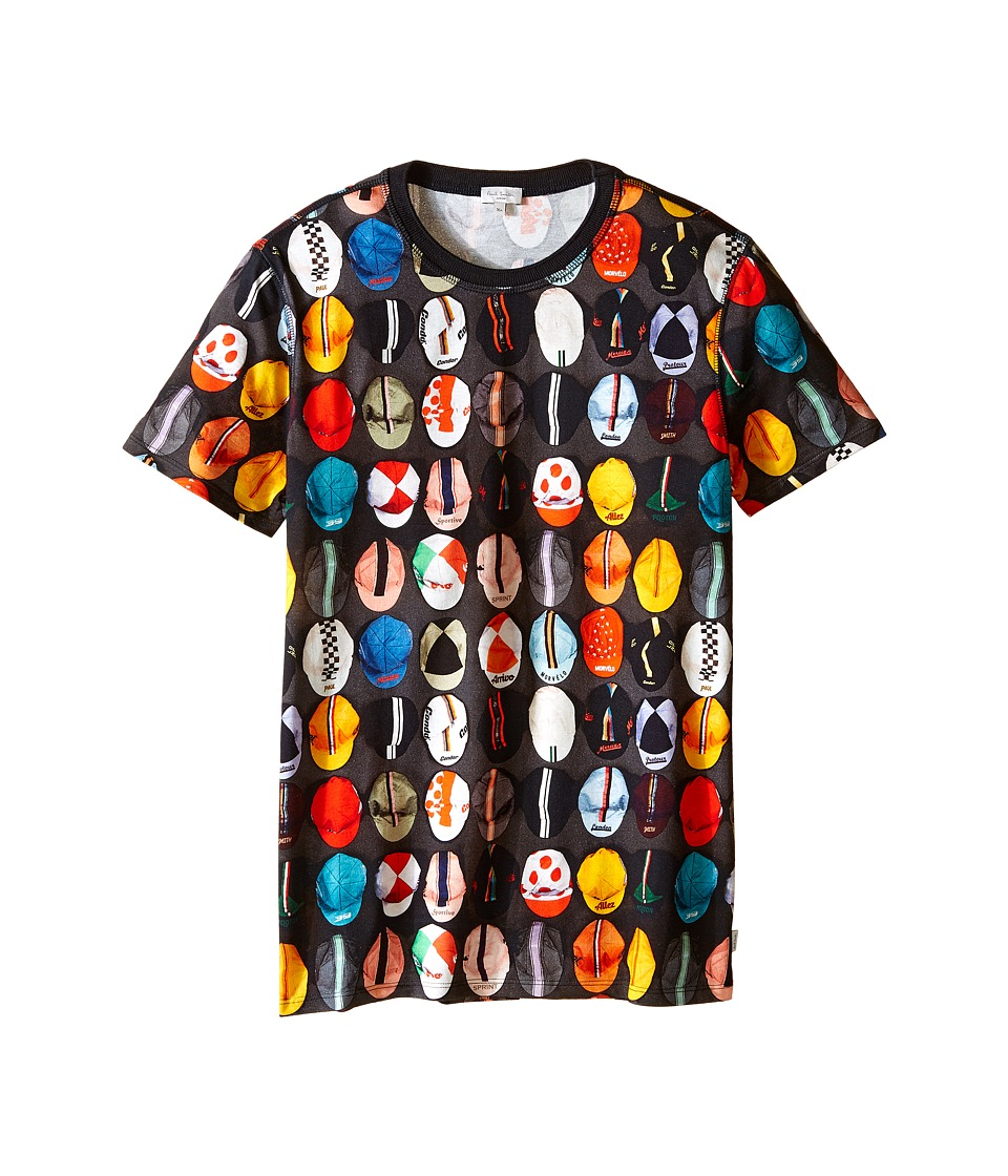 Paul Smith Junior - Caps Printed Short Sleeves Tee Shirt (Big Kids) (Charcoal Grey) Boy's T Shirt