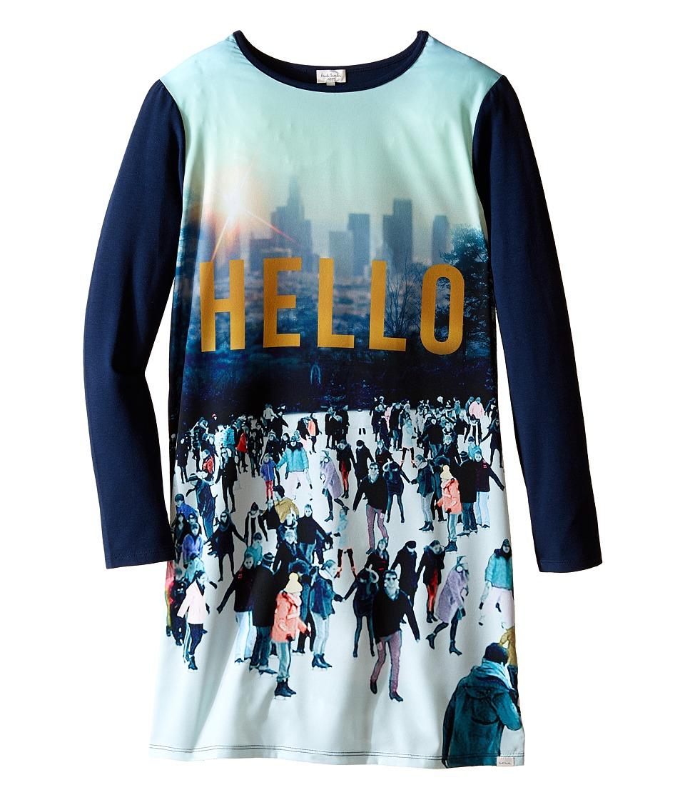 Paul Smith Junior - Printed Hello Tee Shirtdress (Big Kids) (Sea Blue) Girl's Dress