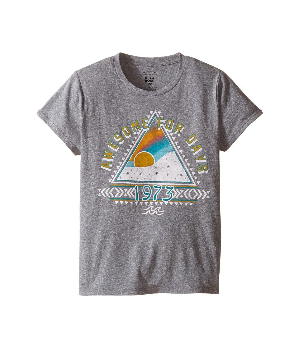Billabong Kids - Awesome For Days Tee (Little Kids/Big Kids) (Dark Athletic Grey) Girl's T Shirt